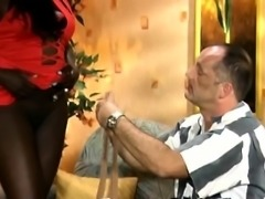 Pantyhose African Slut Footjob Riding Interracial