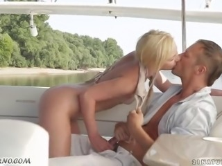 Nordic Valkyrie has sex on a yacht