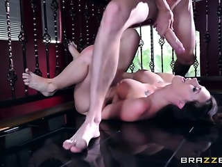 Brunette Chanel Preston with big jugs gets the hole between