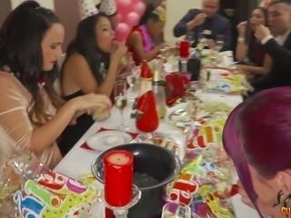 Claudia Bavel fucks damn dirty at the birthday party