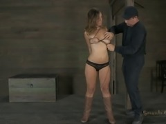 Tied slave yells when refined with vibrator in BDSM porn