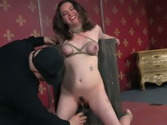 Submissive black haired MILF Amy Nicole gets tightly bound and harshly toy...