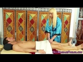 Masseuse guzzles jizz