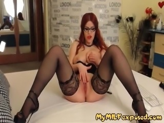 My MILF Exposed Hot redhead wife in sexy lingerie pussy play