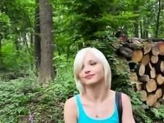 Horny babe Zazie rides bigcock in the woods for cash