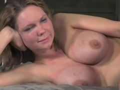 Alluring bondage diva with big tits posing lovely after getting tortured