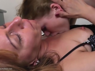 Sassy big ass mature dame in panties yells when awarded with pussy licking
