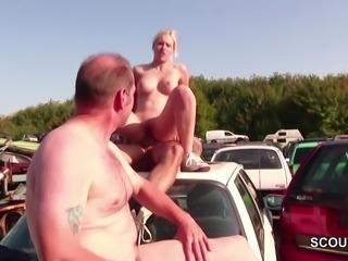 German Petit Teen Seduce to Fuck Outdoor by 2 old Stranger