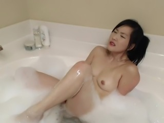 Asian bubble bath masturbation
