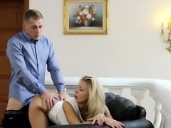 Beautiful blonde Milf fucking hard on the sofa