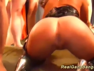 Big natural breast german stepmom in her first bukkake gangbang