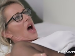 Experienced 4 eyed blondie Marina Beaulieu blows BBC for hard mish pose...