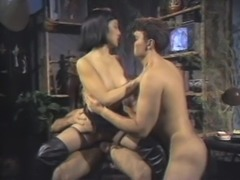 Asian babe with fake tits pounded hardcore in retro mmf porn