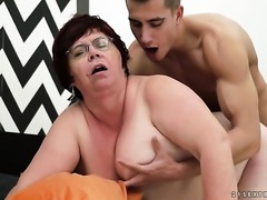 Redhead with giant boobs is curious about oral sex with hard cocked dude