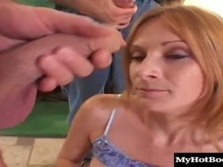 Redhead babe of the petite build tries taking the sausage up the ass