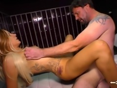 Tattooed MILF getting a good shagging from a dude with a hairy chest