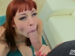 Sandy haired lusty bitch with red nails Alexa Nova likes sucking juicy...
