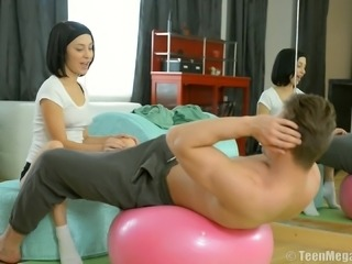 Russian brunette widen legs then pounded hardcore missionary