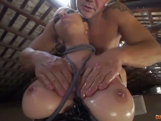 Oiled up mistress Nekane fucks damn passionately in arousing fuck video