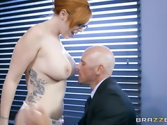 Redhead Lauren Phillips with big knockers and her hard