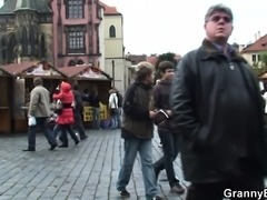 Guy picks up and fucks granny from behind