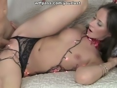 Sweet brunette gets gangbanged after a New Year's party