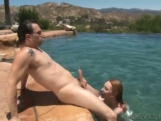 Red haired titless slut Katy Kiss and her kinky BF are true oral sex fans