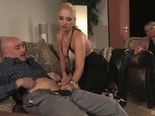 Mature blonde chick bends over for a randy man's throbbing cock