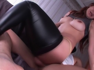 Japanese chick in very tight pants deserves to get a good ramming