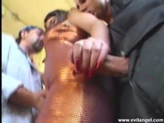 Charming babe with natural tits enjoys getting hammered hardcore in a juicy mmf threesome