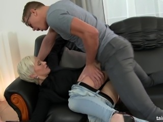 Doggy style for a blonde chick after sucking his fat dong