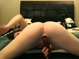 Dark haired slutty all alone webcam nympho was teasing herself with vibe