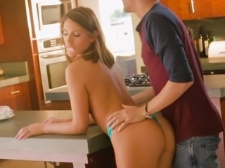 Cute chick August Ames doing some wild cock riding in the kitchen