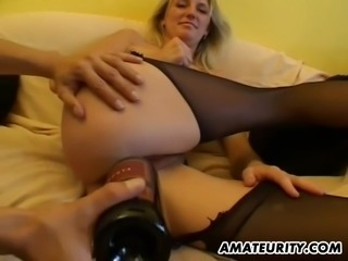 Glorious cowgirl in a pantyhose has her pussy spooked with insertions then...