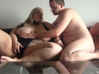 Extremely fat blond whore smashed my friend while riding him on top