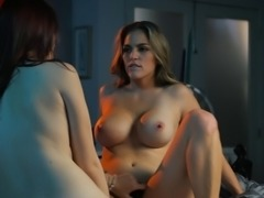 Big tits lesbian moans while her juicy pussy is licked