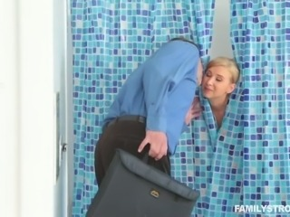 Spoiled blond haired bitch fucks with her horny step brother in bathroom