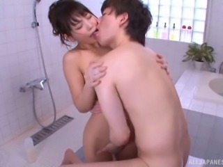 Oiled Japanese cowgirl with small tits loving rimjob