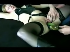 Slut Wife is bottle fucked
