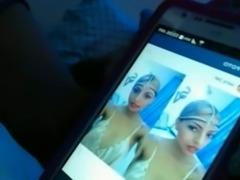 Exotic webcam Arab beauty in scarf was rubbing her juicy bald pussy