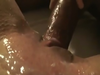 My friend's lubed strong cock penetrated wet pussy of slutty nympho