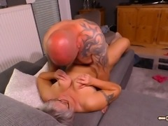 Granny gets a cum shot after sucking and fucking his stiff shaft