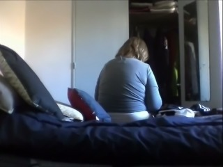 Hidden cam capture mature aunt changing in her room