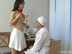 Doctor smashing teen shaved pussy hardcore missionary