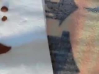 Nasty arse of brunette after masturbating