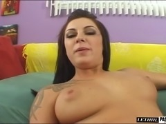 Tattooed brunette with big booty riding huge dick in pov shoot