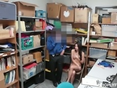 Dark haired shy hooker Taylor May gives solid BJ to her buddy in the storage...