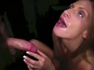 Light haired whorable bitch was sucking a strong cock through a gloryhole