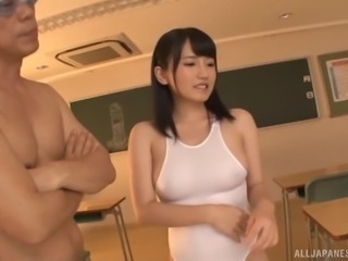 Horny Asian model throbbed hardcore missionary in classroom