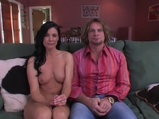 Fat ass wife with natural tits unpinning her panties then getting banged...